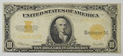 Series 1922 $10.00 Gold Certificate Large Size Horseblanket Note