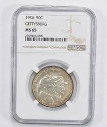 MS65 1936 Battle of Gettysburg Anniversary Commem. Half Dollar - NGC