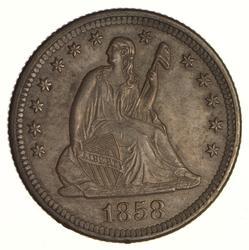 1858-O Seated Liberty Quarter - Near Uncirculated