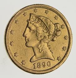1890-CC $5.00 Liberty Head Gold Half Eagle - Near Uncirculated