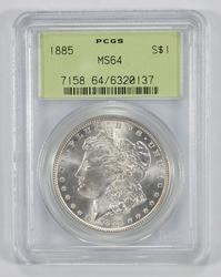 MS64 1885 Morgan Silver Dollar - Old Green Holder - Graded by PCGS