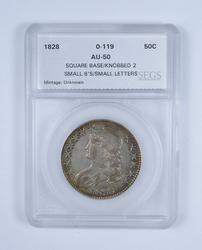 AU50 1828 Capped Bust Half Dollar - 0-119 - Graded by SEGS