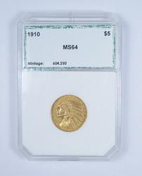 MS64 1910 $5.00 Indian Head Gold Half Eagle - Graded by PCI