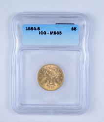 MS65 1880-S $5.00 LIberty Head Gold Half Eagle - Graded by ICG