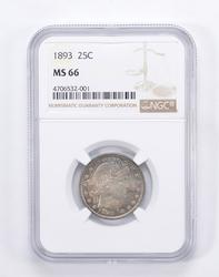 MS66 1893 Barber Head Quarter - Toned - Graded by NGC