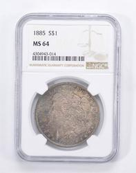 MS64 1885 Morgan Silver Dollar - Blue Toned - Graded by NGC