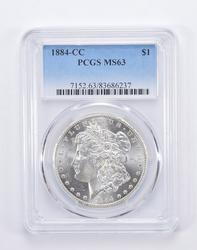 MS63 1884-CC Morgan Silver Dollar - Graded by PCGS