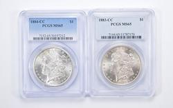 Lot (2) MS65 1883-CC & 1884-CC Morgan Silver Dollars - Graded by PCGS