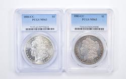 Lot (2) MS63 1883-CC & 1884-CC Morgan Silver Dollars - Graded by PCGS