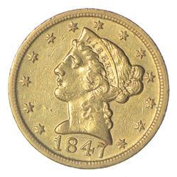 1847-D $5.00 Liberty Head Gold Half Eagle - Near Uncirculated