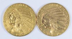 Lot (2) 1910 & 1912 $5.00 Indian Head Gold Half Eagles