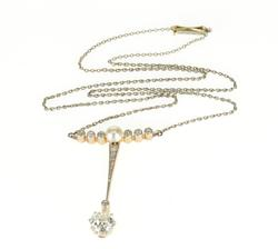 14K Yellow Gold 1.55 Ctw Diamond 5mm Natural Pearl Edwardian Necklace