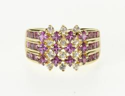 14K Yellow Gold Pink Sapphire* Cubic Zirconia Tiered Cluster Ring