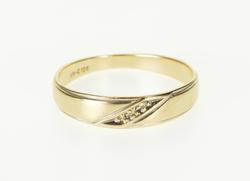 10K Yellow Gold Diamond Inset Diagonal Groove Wedding Band Ring