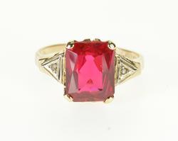 10K Yellow Gold Ruby* Diamond Accent Emerald Cut Statement Ring