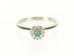 14K White Gold Emerald Diamond Halo Round High Bridge Ring