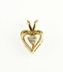 14K Yellow Gold Diamond Inset Heart Cut Out Pendant