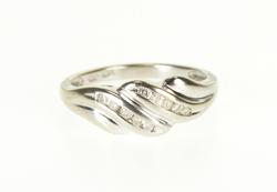 10K White Gold Diamond Channel Curvy Scalloped Bypass Band Ring