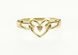 10K Yellow Gold Diamond Inset Chain Heart Interwoven Design Ring