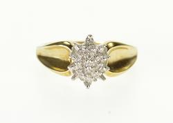 10K Yellow Gold Diamond Inset Cluster Pointed Oval Statement Ring