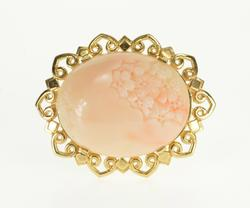 14K Yellow Gold Floral Carved Light Pink Coral Scroll Oval Pin/Brooch
