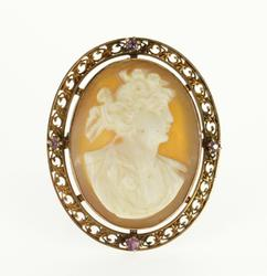10K Yellow Gold Carved Shell Cameo Bust Scroll Pink Topaz Pin/Brooch