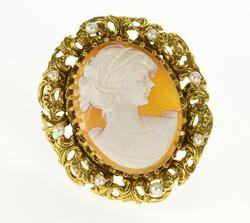 14K Yellow Gold Oval Carved Shell Cameo Pearl Scroll Trim Pin/Brooch