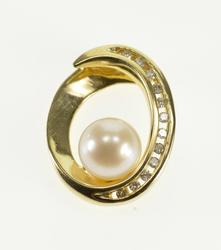 14K Yellow Gold Oval Twist Ring Pearl Accent Diamond Inset Pendant