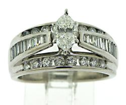 This eye catching white gold ring features an elevated prong set
