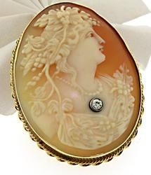 14kt Cameo & Diamond Brooch