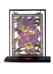 9.5W X 10.5H Pansies Lighted Mini Tabletop Window