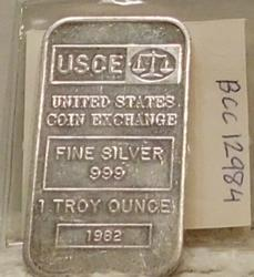 One Ounce Silver Bar PROOF - U S Coin Exch with S/N