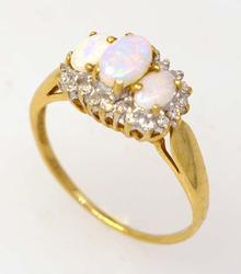Fancy Opal & Diamond Ring in Gold, Size 7.5