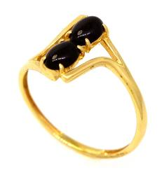 Double Onyx Ring in Gold, Size 8