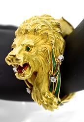 Absolutely Show-Stopping 18K Lion Bangle Bracelet