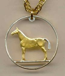 Beautifully Cut out & 2-toned  Irish Horse  coin Necklace