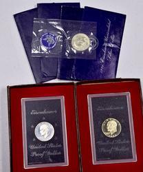 Silver Ike Dollar Lot, 2 PR, 4 BU