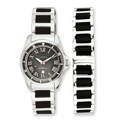 Chisel Ceramic & Stainless Steel Black Dial Watch & 7.5in Bracelet