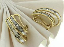 14kt Round Brilliant Cut Diamond Hoop Earrings