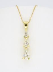 14K Yellow Gold Diamond Drop Necklace