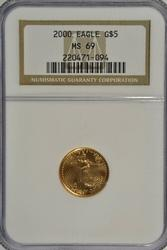 Near perfect Year 2000 $5 Gold Eagle. NGC MS69
