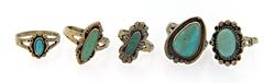 Set of 5 Turquoise Rings in Sterling Silver