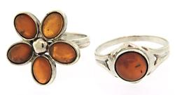 Lot of 2 Sterling Silver Amber Rings