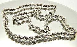 14 KT WHITE GOLD ROPE CHAIN.