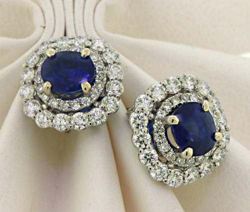 Regal 14kt Sapphire & Diamond Halo Studs
