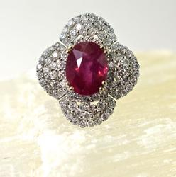Breathtaking 4.75ct Ruby 18K Ring amid 3.58ct tw of Diamonds