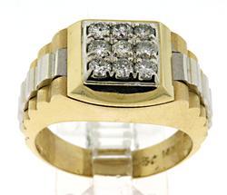 Bold 14kt Gent's Diamond Ring