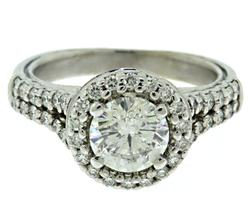 Romantic 14kt Diamond Halo Engagement Ring