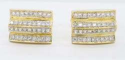 14K Yellow Gold Diamond Cuff Links