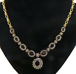 Magnificent 14kt Sapphire & Diamond Necklace